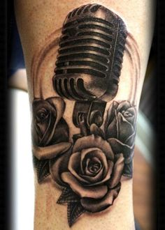 B&W Roses and vintage microphone.