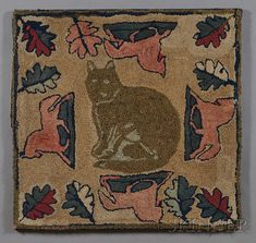 Wool and Cotton Figural Hooked Rug with Cat and Horses, America, early 20th century