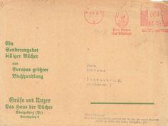 """Königsberg i. Pr. - """"Das Haus der Bücher"""" GRÄFE UND UNZER am Paradeplatz 6, """"Unser Sonderangebot billiger Bücher 99"""" - Versandkuvert November 1939"""