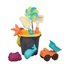 B. Sands Ahoy Medium Bucket Set (Navy). Bring along everything you need to make sand castles, dig, and play with this vibrantly colored set of sand toys. This 9-piece beach set includes bucket with fun handle, spinning pinwheel, 3 sand molds, monster truck, sifter, rake, and shovel. Enjoy hours of fun in the sun with this perfect seaside companion. Made using safe and high quality materials, quality toys like this product are designed to last. Recommended for ages 18 months to 8 years…