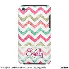 Monogram Glitter Teal Coral Emerald Red Chevron iPod Touch Cases