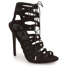 "Topshop 'Rupa' Cage Sandal, 4 1/2"" heel ($80) ❤ liked on Polyvore featuring shoes, sandals, black, black sandals, caged high heel sandals, black shoes, lace up sandals and black stilettos"