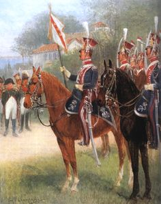 Napoleon with the Elba Squadron of Polish Red Lancers.