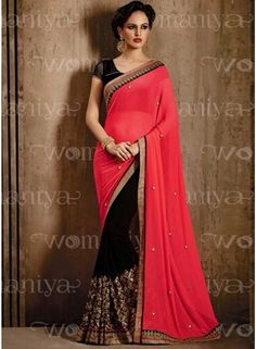 Classy Pink And Black Chiffon Sequins Embroidery Work Half N Half Saree. This Saree Made Up Of Pink Chiffon Fabric With Embroidered Butta Work All Over The Sarees.It Comes Along With Matching Designer Unstitched Blouse With Digital Sleeves. - See more at: http://www.angelnx.com/Sarees/classy-pink-and-black-chiffon-sequins-embroidery-work-half-n-half-saree_9618#sthash.VZYiMAz5.dpuf