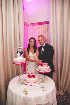 Ann Marie and Tomasz opted for a traditional three tier cake displayed on swan stand for their wedding day. Dressed with pink ribbon and flowers to incorporate their colour scheme. Photo by Emily Doran Photography Wedding Suits, Our Wedding, Wedding Cakes, Wedding Venues, Three Tier Cake, Civil Ceremony, Industrial Wedding, Wedding Wishes, Tiered Cakes