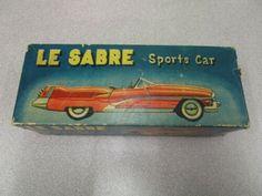 1950s-Yonezawa-Toys-Buick-Le-Sabre-LeSabre-Box-for-Tin-Car-BOX-ONLY Vintage Tins, Vintage Antiques, Buick Sedan, 1956 Buick, Car Box, Tin Toys, Antique Toys, Ambulance, Cadillac