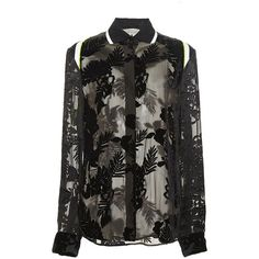 Preen by Thornton Bregazzi Black Printed Dévoré Earl Top ($1,155) ❤ liked on Polyvore featuring tops, burnout shirt, fluorescent shirts, tropical print tops, black shirt and neon shirts