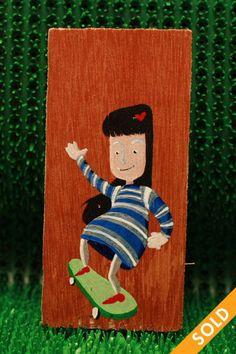 Skater Girl Wooden Tags, Skater Girls, Skateboard, Hand Painted, Fall, Skateboarding, Autumn, Fall Season, Skateboards