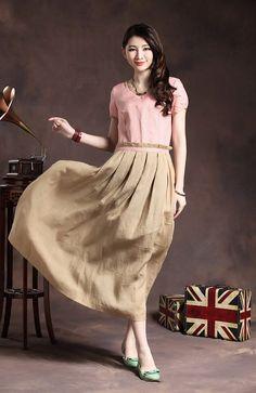 vestido de lino de color contraste en el vestido por camelliatune, $89.00