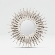 Featuring a round or oval sunburst of layered teak in a distressed silver finish. Oval Mirror, Round Mirrors, Antique Iron, Antique Gold, Wire Basket Shelves, Copper Beech, Contemporary Wall Mirrors, Gold Wood, Unfinished Wood