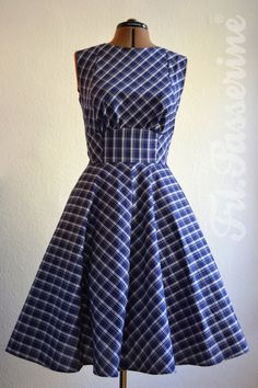Passerine - custom made designer dress vegan, blue white checkered petticoat dress Ⓥ Lindy Hop, Corporate Design, Jumpers, Costume Design, Custom Made, Designer Dresses, Blue And White, Dresses For Work, Vegan