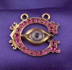 Antique 18kt Gold, Reverse Painted Crystal and Ruby Eye