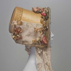 poke hat, trimmed with chiné ribbon  http://www.mfa.org/collections/object/straw-hat-251920
