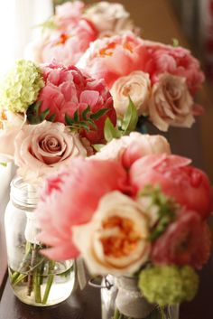 Poeneys, hydrangeas and roses by Honey and Poppies, via Flickr