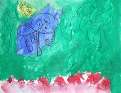 "Art inspired by Salvador Dali's ""The Elephants"" (Medium: marker & tempera paint.)"