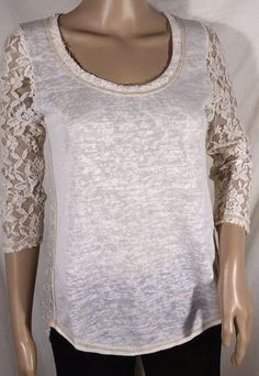 NWT Miss Me Sheer Lace Heather Beige 3/4 Sleeve Top Size S, L #MissMe #ButtonDownShirt