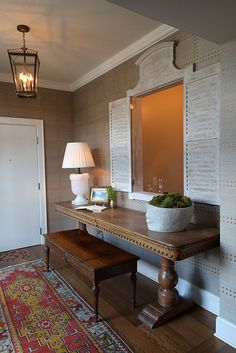 Interior designer Jonathan Savage featured Rivets 5709 Copper On Elephant Manila Hemp in the foyer of a client's home