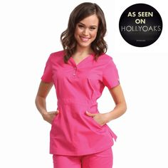"""Longer top from Koi in Flamingo, 26"""" length (size S) 55% cotton/45% polyester soft twill top, Two functioning snap buttons and deep pockets XS-3X, £27.50  #dental #uniforms #nurse #female #scrubs #tunics #top #healthcare #koi #Justine #happythreads"""