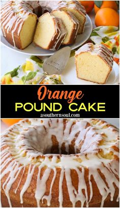 This Orange Pound Cake Is Rich, Buttery And Loaded With Bright Orange Flavor In Every Bite Made With Fresh-Squeezed Orange Juice And Zest, This Cake Is Topped With A Light, Lovely Glaze And Is Great For Any Occasion. Delicious Cake Recipes, Best Cake Recipes, Pound Cake Recipes, Yummy Cakes, Favorite Recipes, Frosting Recipes, Cupcakes, Cupcake Cakes, Bundt Cakes