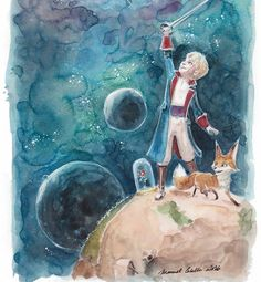 "A beautiful #watercolor #illustration by Manuel Cabello (@manucabello)  of #TheLittlePrince and his friends the #Rose and the #Fox standing on the #Prince's tiny #world. I love the #expression on the Prince's face as he holds up his #sword and I think the use of #watercolors in this #painting and Manuel's #artistic skill made #outerspace and the #planets in the background really something incredible.  In case you do not know ""#LePetitPrince"" was a written by #french author…"