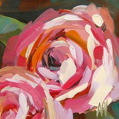 Pink Roses no. 5 original floral oil painting by Angela Moulton 5 x 5 inch mounted on birch plywood  ready to hang pre-order by prattcreekart on Etsy