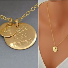 Personalized Disc Necklace, Custom Name Necklace, Initial Disc