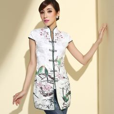 Attractive Blossom Flowers Cheongsam Style Blouse - Chinese Shirts & Blouses - Women