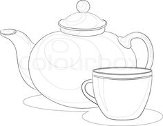 Vector of 'Vector, china teapot and cup, monochrome contours on white background'
