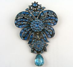 Eighteenth century silver and blue paste brooch, ca 1760 probably English.