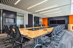 Boardroom Photographs - Love That Design / Modus chairs and Timetable Conference table by Wilkhahn Office Space Design, Office Interior Design, Room Interior, Corporate Interiors, Office Interiors, Conference Room Design, Conference Table, Ceiling Light Design, Design Firms