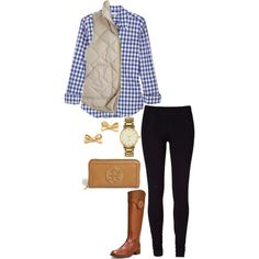 gingham and cream, created by the-southern-prep on Polyvore