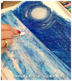 Come dipingere la luna sul mare...tutorial - I colori di Laura