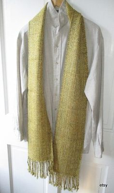 Yellow bronze silk linen rayon scarf  handwoven at home