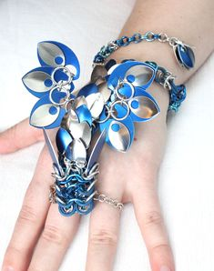 Blue and Silver Dragon Slave Bracelet - Worn by SerenFey on deviantART