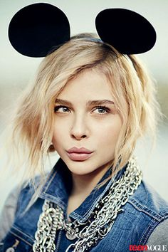 Chloe Moretz in Teen Vogue, sporting the ears but not particularly feeling in a playful mood. Mickey Mouse = mind control.