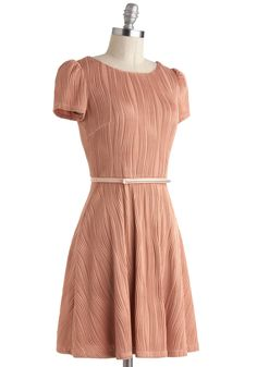 Primary Texture Dress. Your literature professor invites you to the front of the room to present your thesis, and, feeling confident in the textured, stretch-fabric silhouette of this short-sleeved, mauve frock, you proudly take your place at the podium. #pink #modcloth