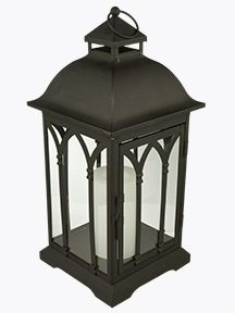 Gorgeous traditional lantern made of durable black metal. Perfect for indoors & outdoors and features a beautiful flameless candle for light