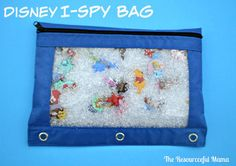 You little ones will love this Disney I-spy bag filled with all their favorite Disney characters. Baby Sensory Bottles, Sensory Bottles For Toddlers, Sensory Activities For Autism, Toddler Sensory Bins, Disney Activities, Educational Activities For Kids, Craft Activities, Toddler Activities, Sensory Play