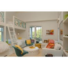 girl's rooms - built-in twin beds teal blue modern swivel chairs yellow pillows white round Moroccan ottoman brass trim white linen sofa pastel pillows French doors found on Polyvore