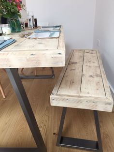 Reclaimed scaffold board dining table and bench set with steel trapezium legs. By Tranquilo Living