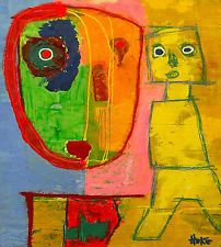 THROUGH THE LOOKING GLASS Hoke Outsider RAW Folk Abstract Art Brut Painting