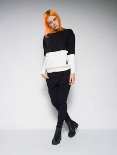 Female black & white sweatshirt Made with love in Poland Tailor - made polish streetstyle Panel sweatshirt  Black & white style