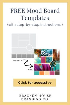 FREE Mood Board Templates (with step-by-step instructions)! Whether professionally designed or DIY'd, your brand design should start with a mood board (created by you). About: mood board inspiration Logo Branding, Business Branding, Business Design, Branding Design, Branding Ideas, Business Tips, Business Pictures, Logo Design, Baking Business