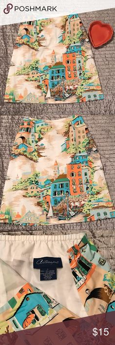 Artscapes Venetian Bistro Print Skirt Ladies size Small (6-8). Venetian scenes add a romantic touch to the Artscapes Bistro in Venice print skirt. Colorful scenes show the waterfront, buildings, sailboats. Designed with a flat front, it features darts for shaping and back elastic for a comfortable fit. Fully lined. Side zip closure. Skirt is 97% Cotton / 3% Spandex. Lining is 100% Polyester. Machine wash, line dry. Thanks for looking! Artscapes Skirts