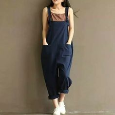 e4e921d4ef48 ZANZEA Rompers Womens Jumpsuits 2017 Casual Vintage Sleeveless Backless  Casual Loose Solid Overalls Long Paysuits Plus Size