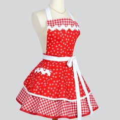 Ruffled Retro Apron - Cute Pinup Womens Apron in Christmas Red and White Daisies and Gingham Full Kitchen Apron Personalize or Monogram