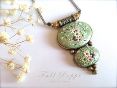 OLIVINE PENDANT. Chic handmade polymer clay pendant. by TallPoppi, $89.00