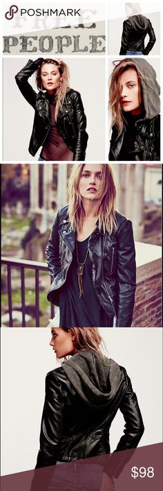 Free People Vegan Leather Jacket Distressed vegan leather motorcycle jacket with moto stitch detailing around the waist. Comes with detachable hood. Zipper and button closure in the front, with zip detailing at each sleeve hem. Two front chest zippers. Lined. Super rugged and edgy, just how we love to wear our moto jackets! (There is a small tear inside the sleeve) Free People Jackets & Coats
