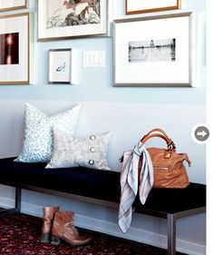 blue rectangle painted gallery wall