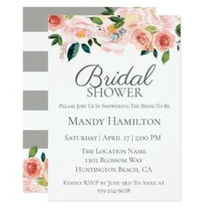 Pink Spring Floral Bridal Shower Invitation - bridal gifts bride wedding marriage